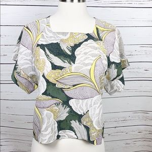 Zara Top Tropical Green Gray Top Short Sleeve XS